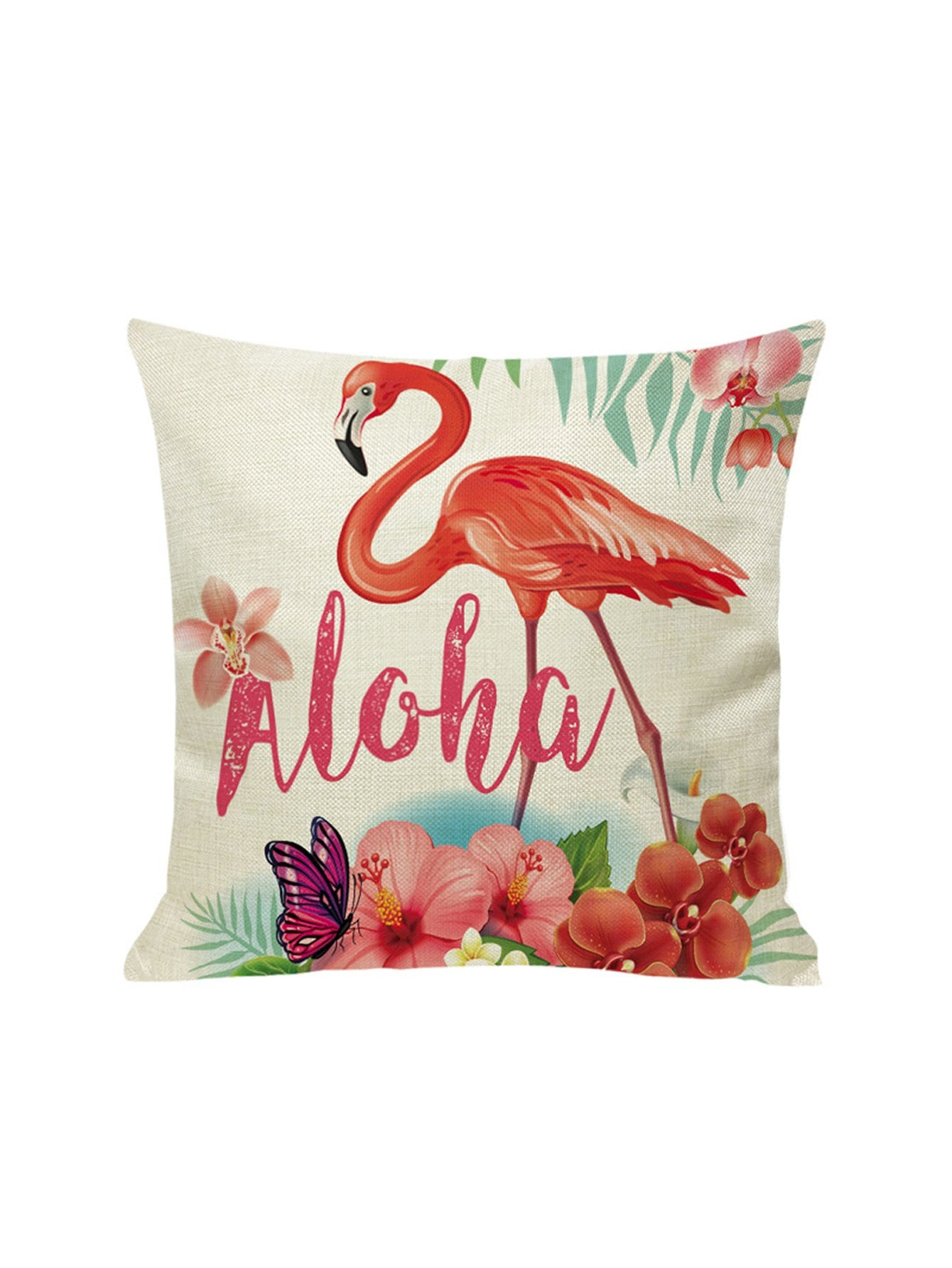 Купить Наволочка с рисунками фламинго и цветов 1 шт, null, SheIn