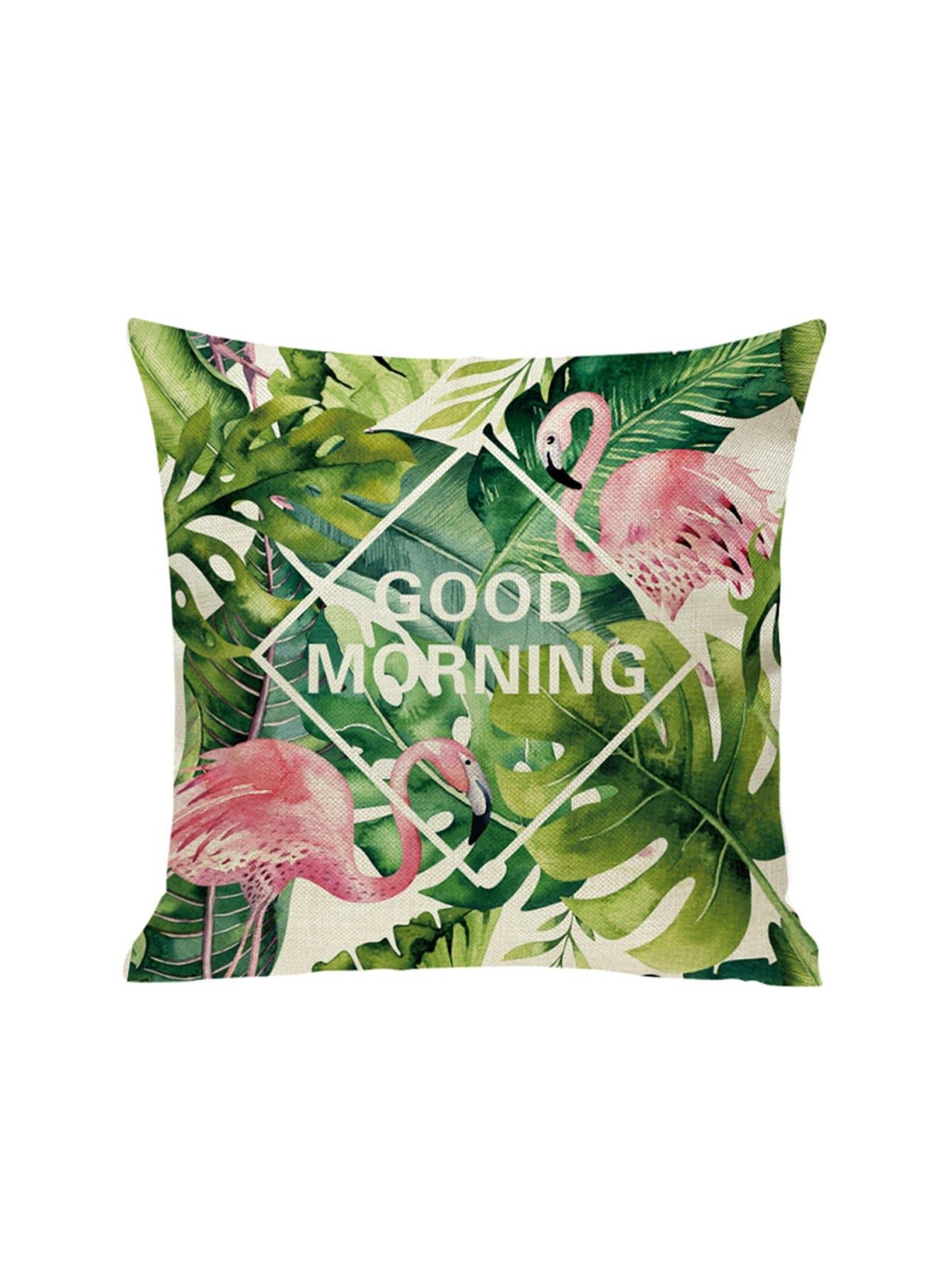 Купить Наволочка с рисунками фламинго и тропических листьев 1 шт, null, SheIn
