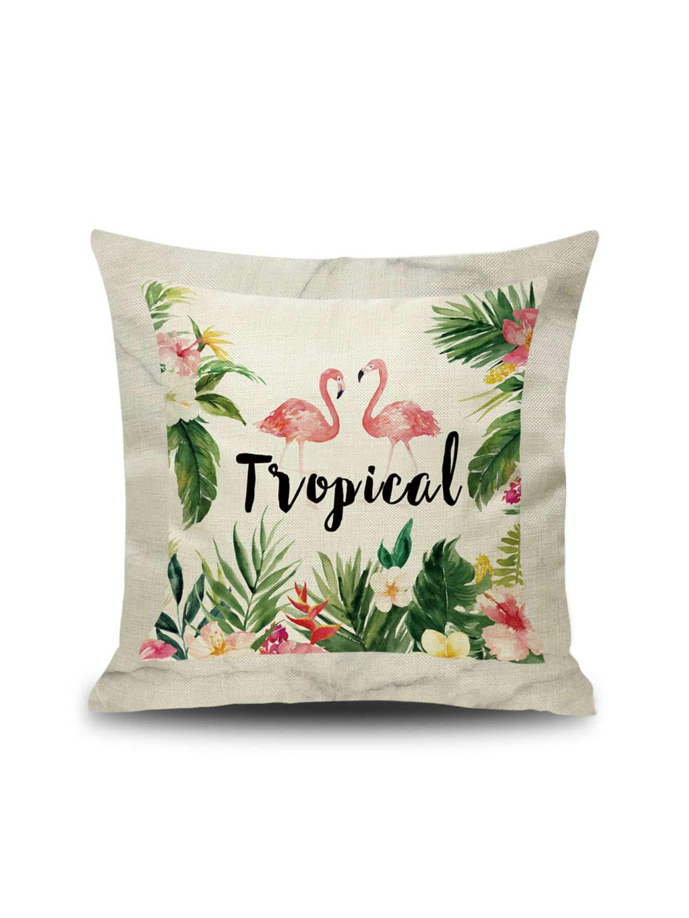 Наволочка с рисунками фламинго и тропических листьев 1 шт