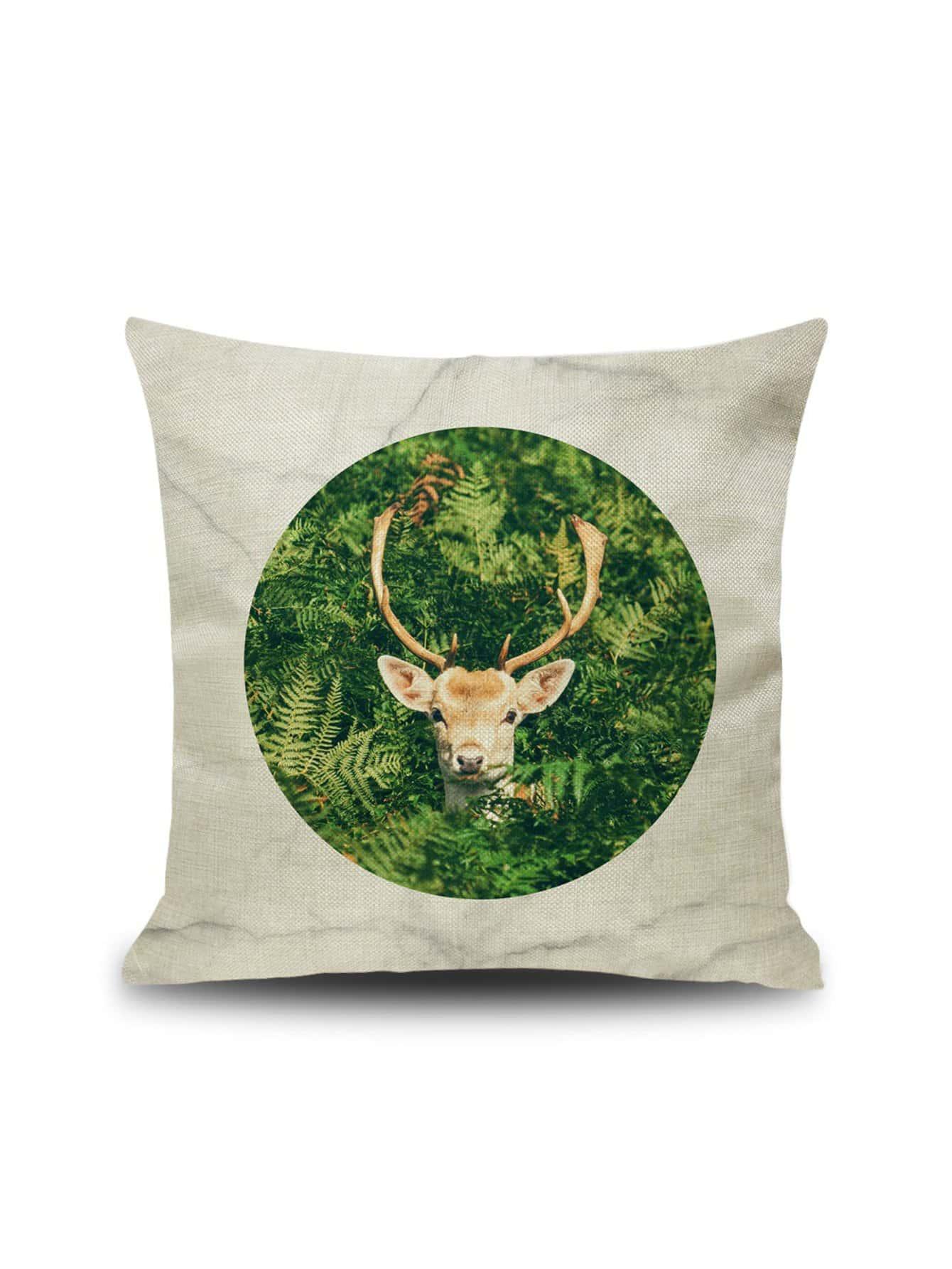 Купить Наволочка с рисунками оленя и растений 1 шт, null, SheIn