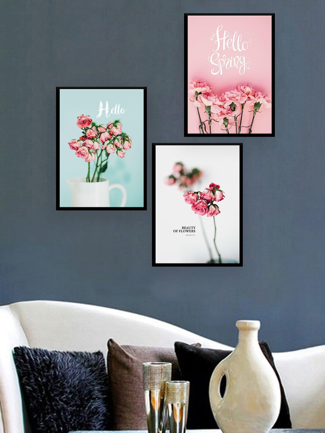 Купить Настенная фотография с рисунками цветов и буквы 3 шт, null, SheIn