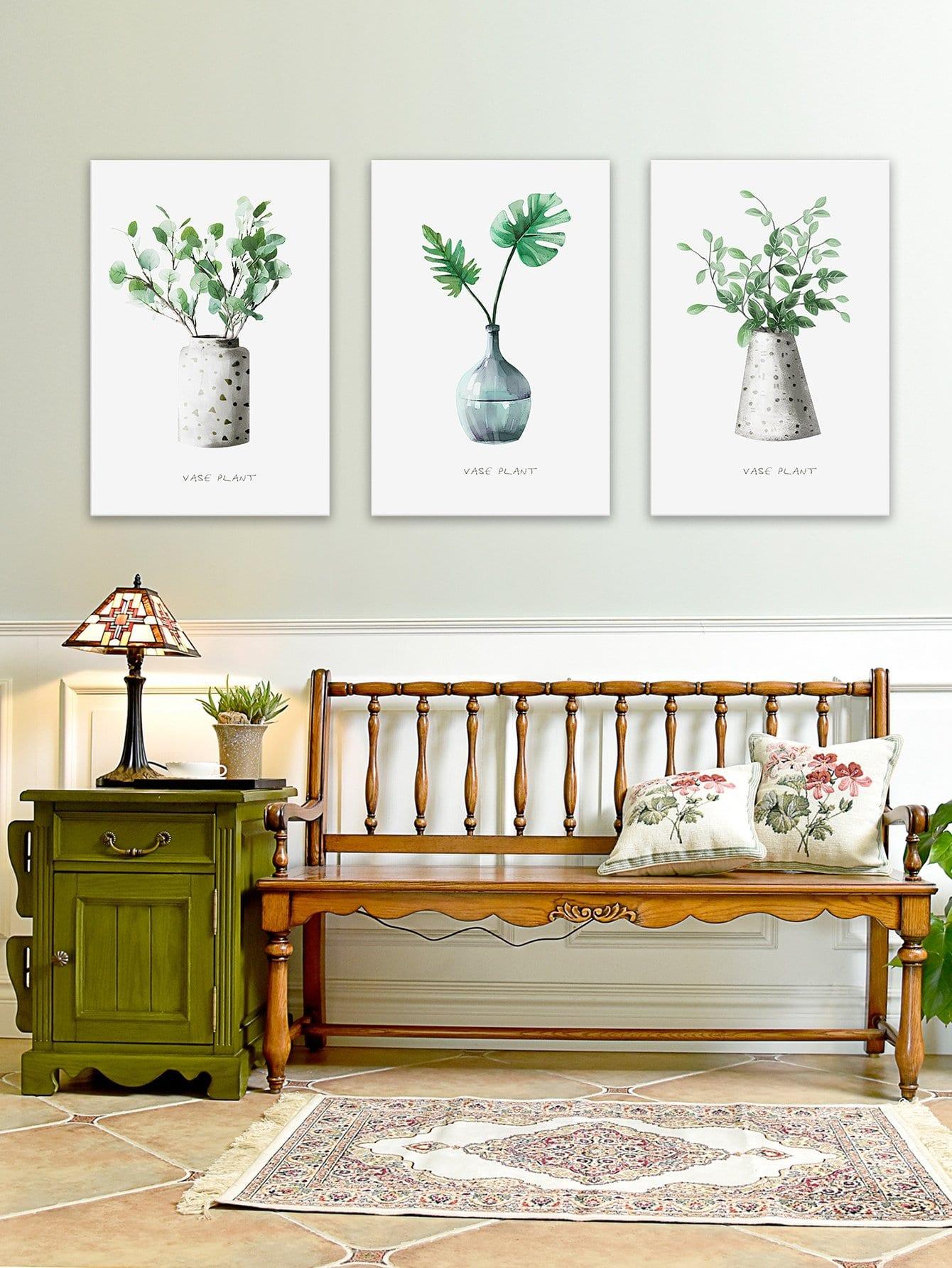 Купить Настенная фотография с рисунками растений 3 шт, null, SheIn