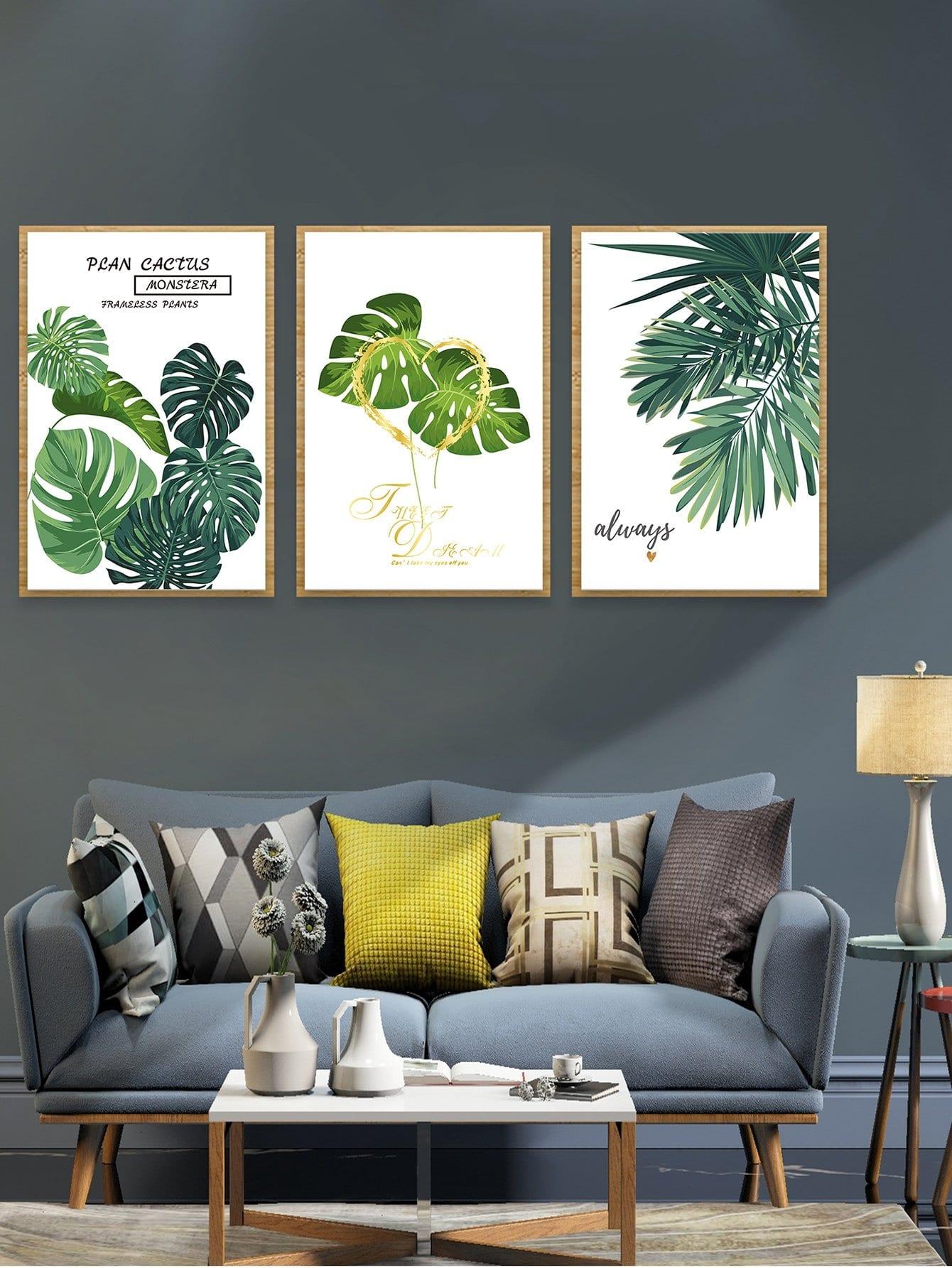 Настенная фотография с рисунками тропических листьев 3 шт, null, SheIn  - купить со скидкой