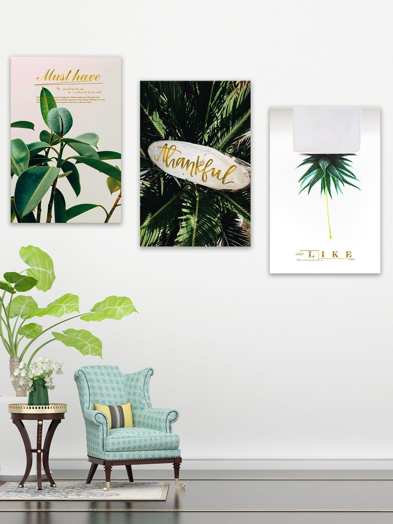 Купить Настенная фотография с рисунками растений и буквы 3 шт, null, SheIn