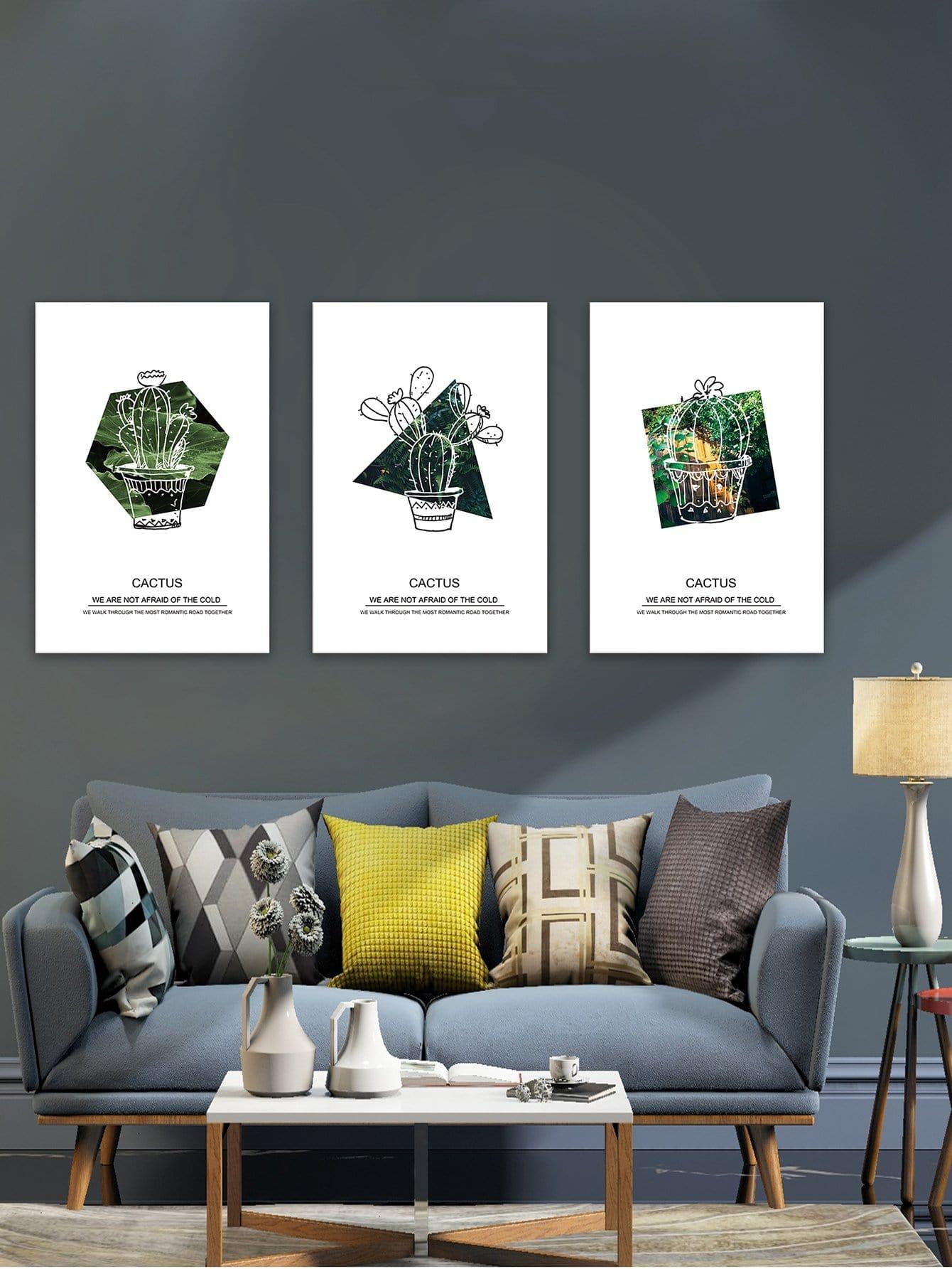 Купить Настенная фотография с рисунками кактусов и буквы 3 шт, null, SheIn