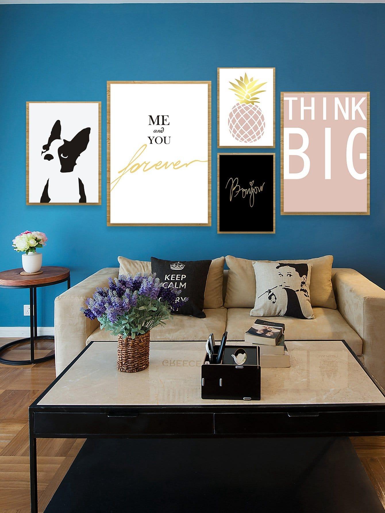 Купить Настенная фотография с рисунками собаки и буквы 5 шт, null, SheIn