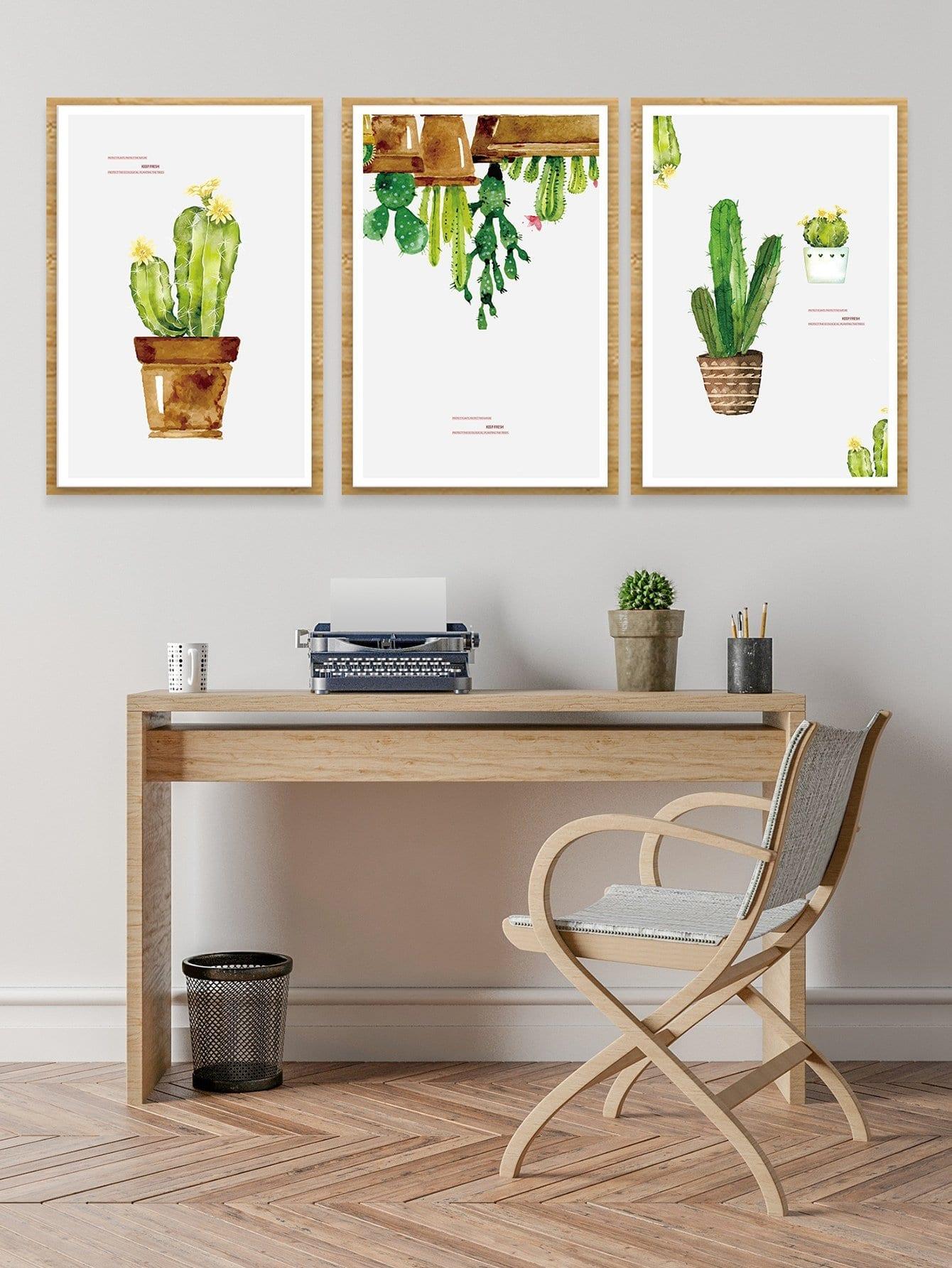 Купить Настенная фотография с рисунками кактусов 3 шт, null, SheIn