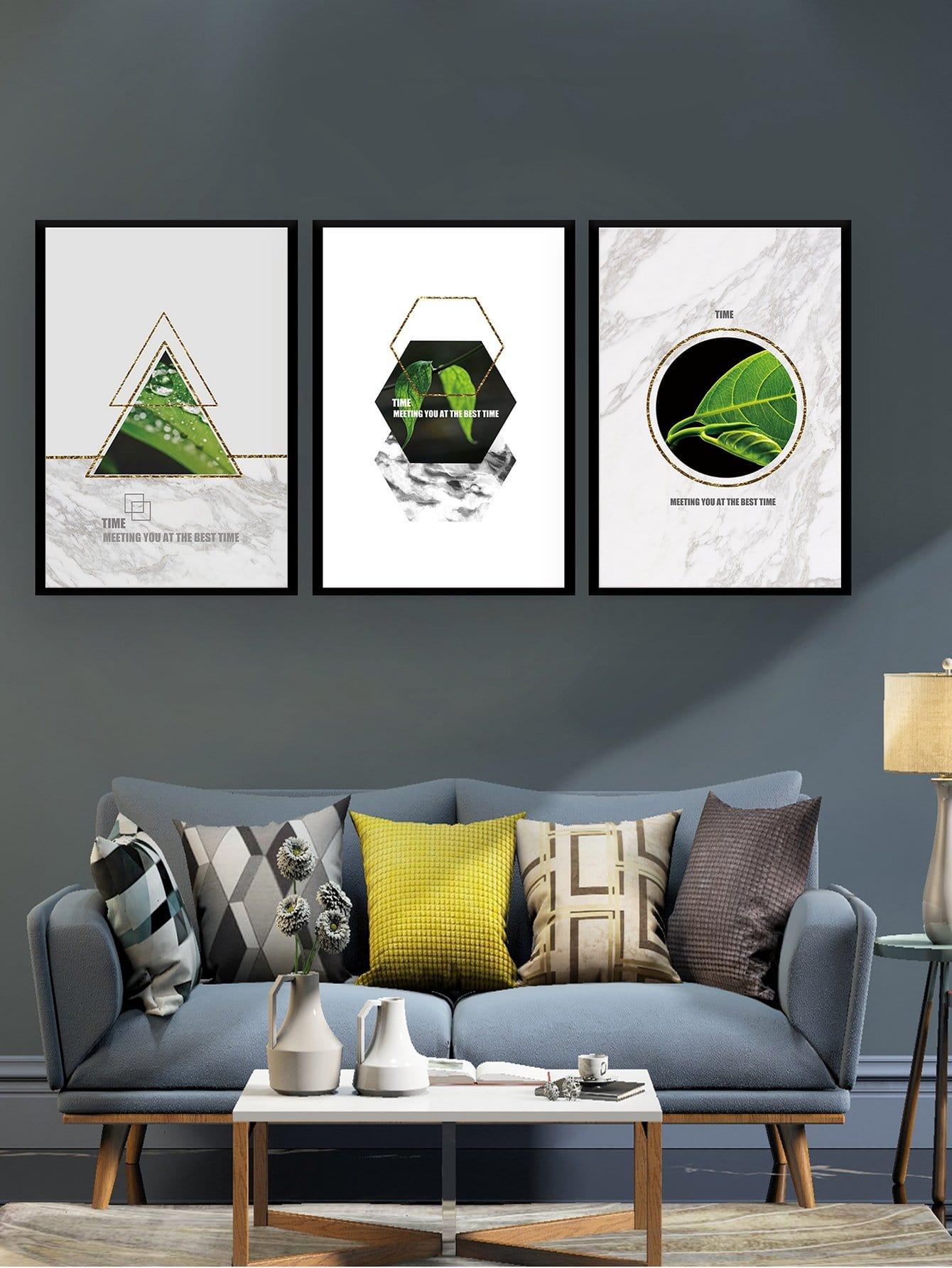 Купить Настенная фотография с рисунками растений и геометрических фигур 3 шт, null, SheIn