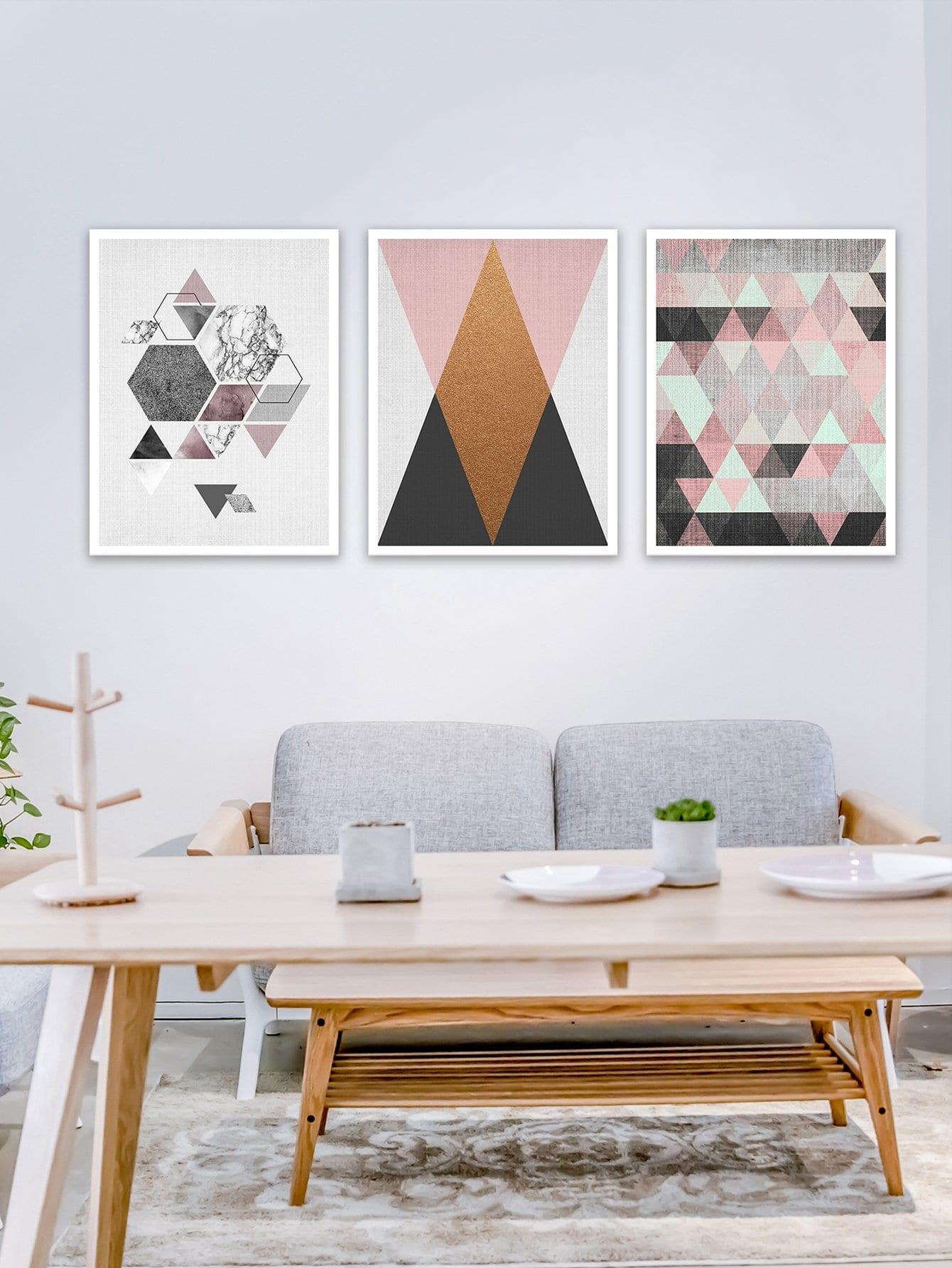 Купить Настенная фотография с рисунками геометрических фигур 3 шт, null, SheIn