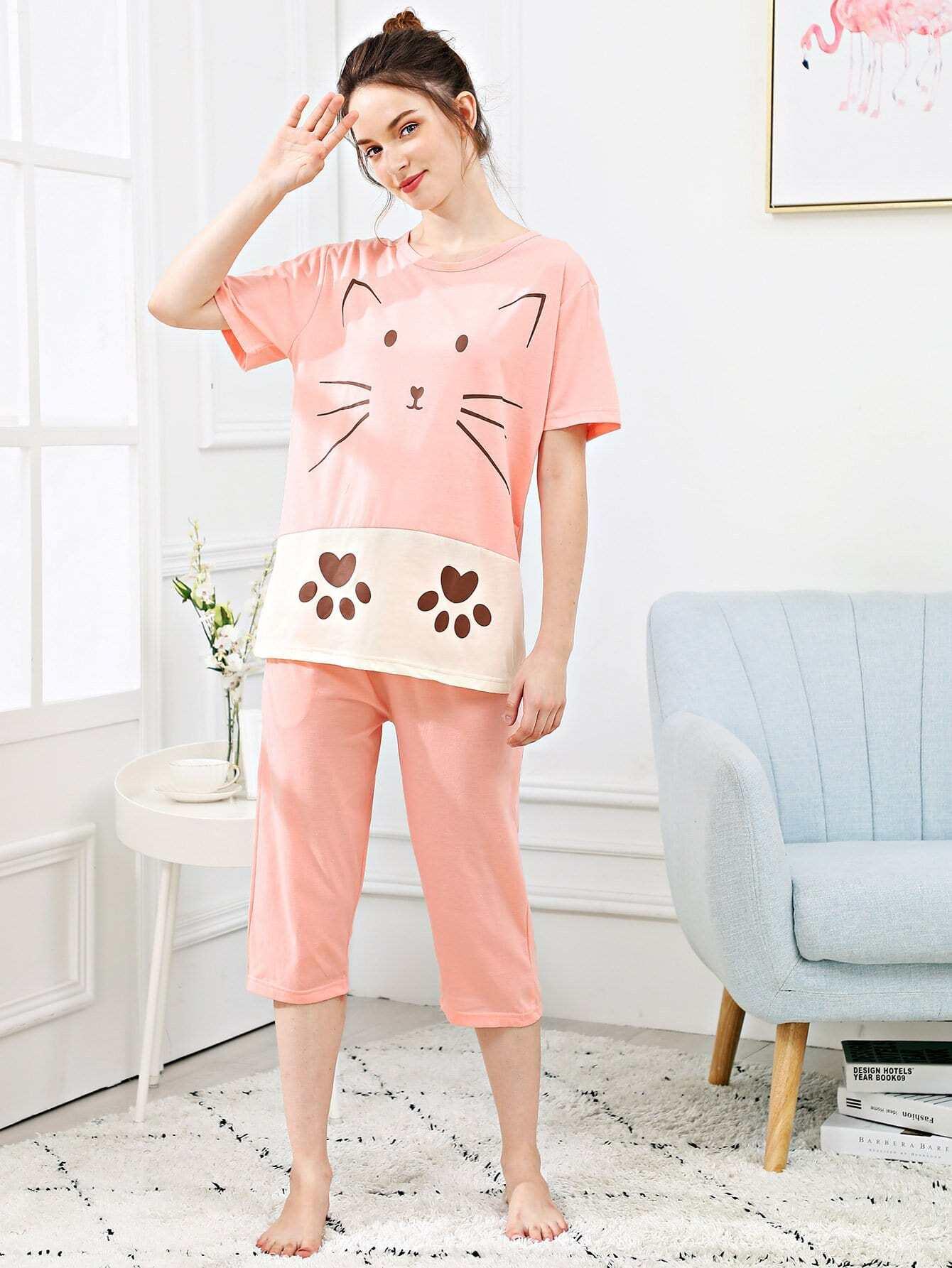Купить Набор пижамы из нескольких цветов и с рисунком кота, Tory, SheIn