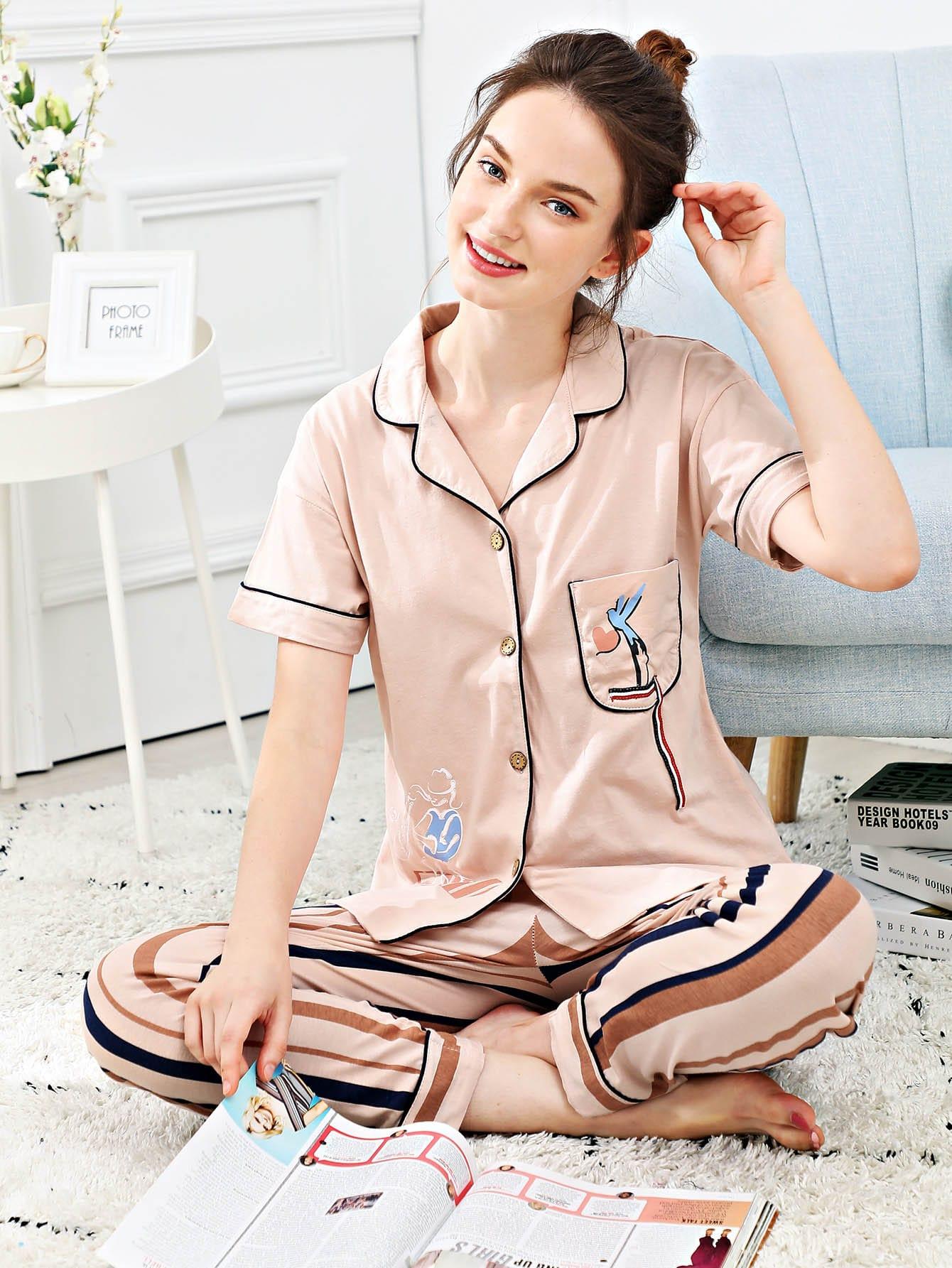 Купить Набор полосатой пижамы и с рисунками мультипликаций и с украшением пуговицы, Tory, SheIn