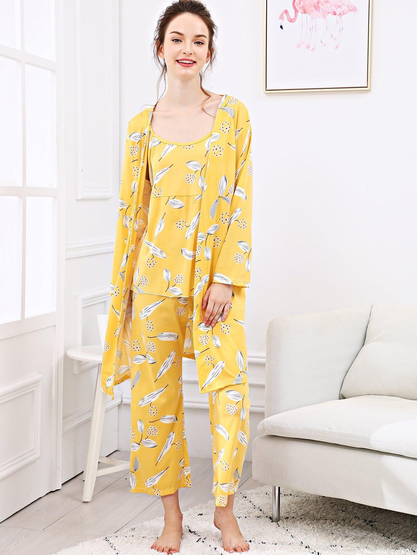 Купить Набор пижамы на бретелях и с рисунками листьев и длинный халат, Tory, SheIn