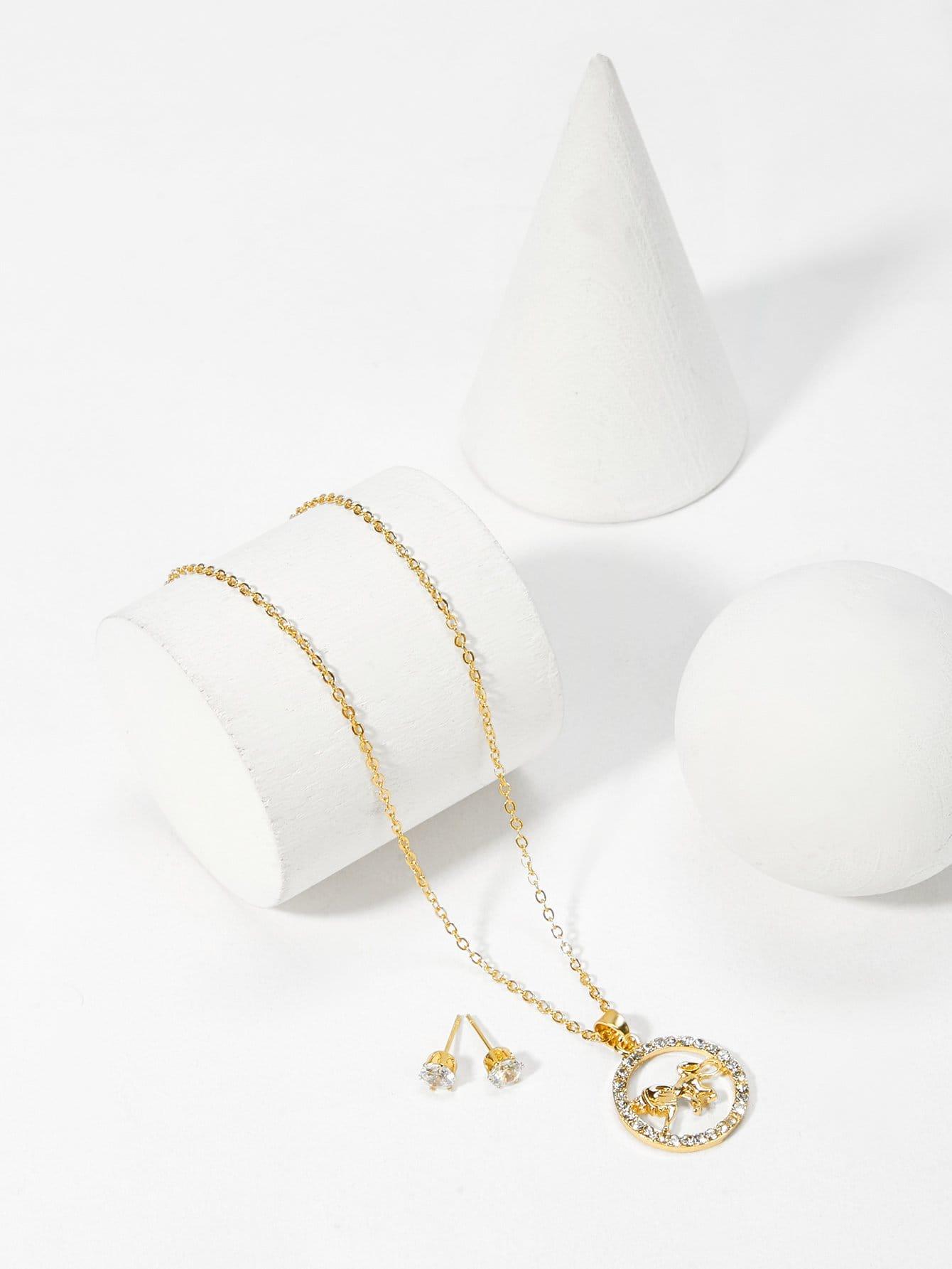 Strass Kreis Anhänger Halskette & Ohrringe