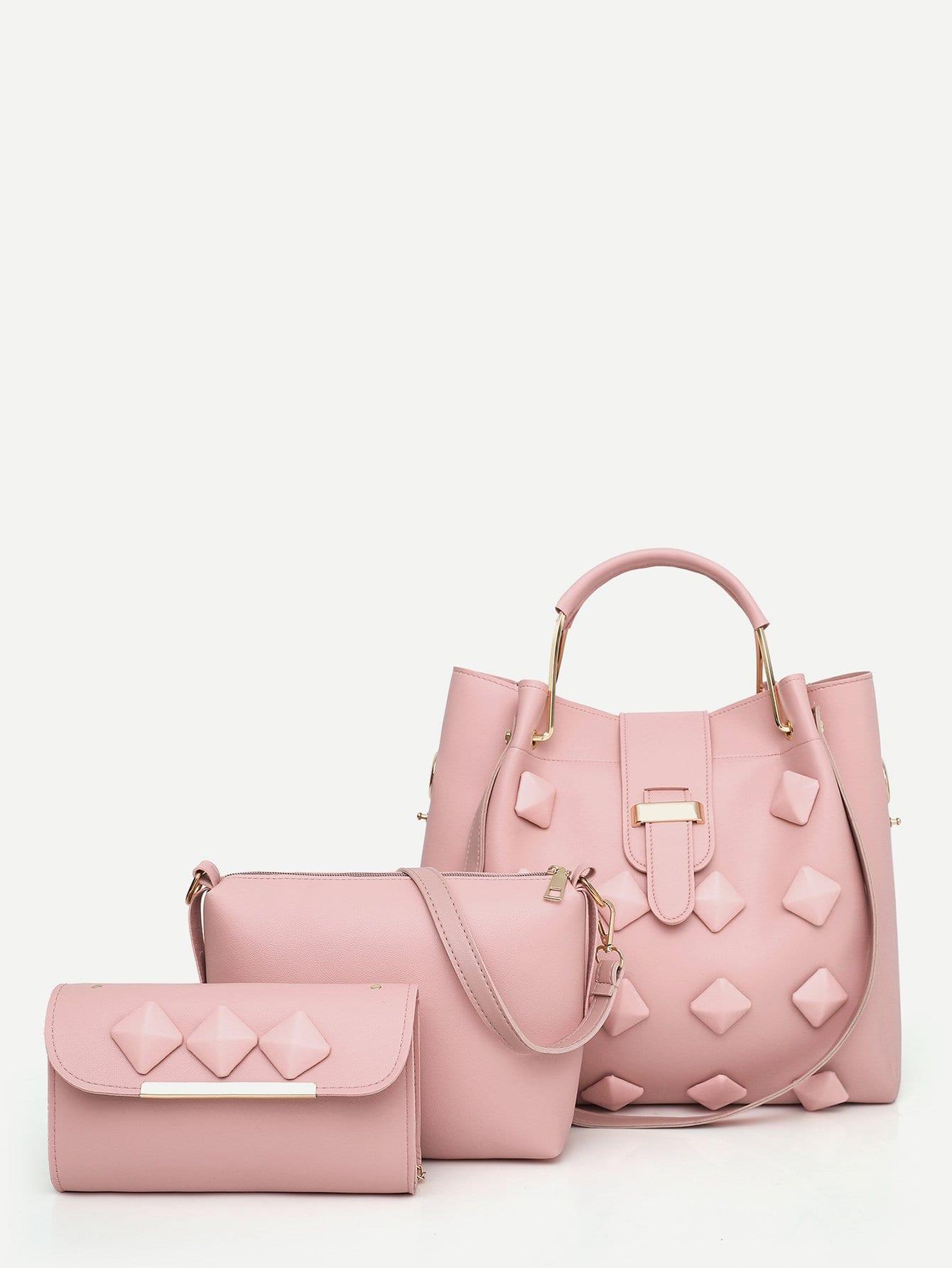 Купить Шипованный Наборсумок розовый Сумки, null, SheIn
