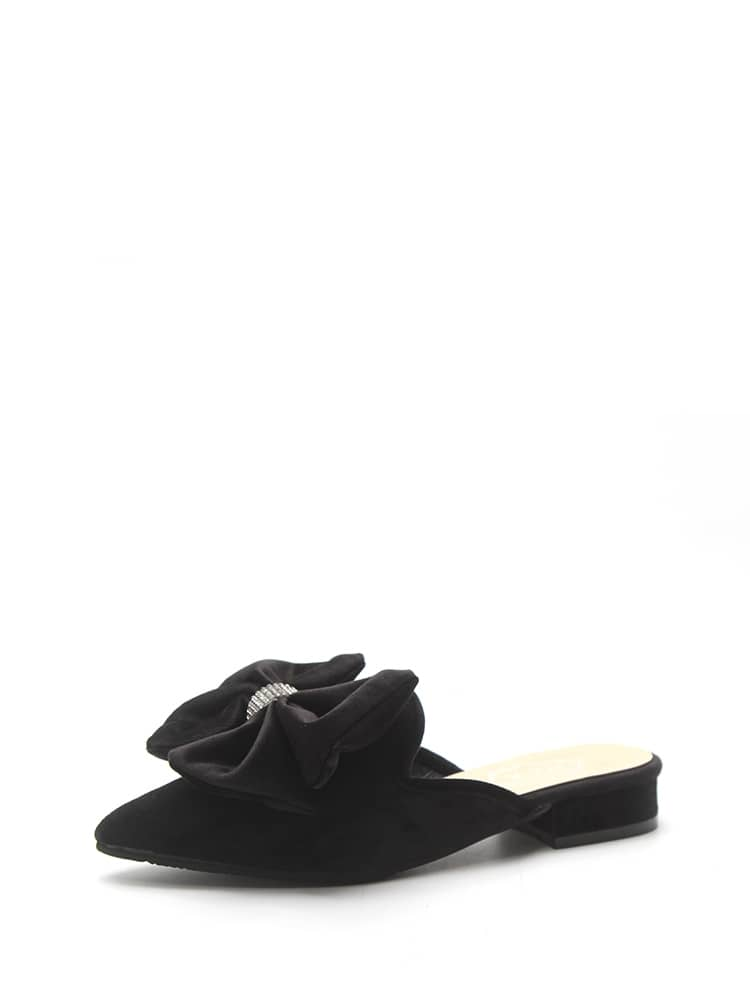 Bow Decor Suede Mules
