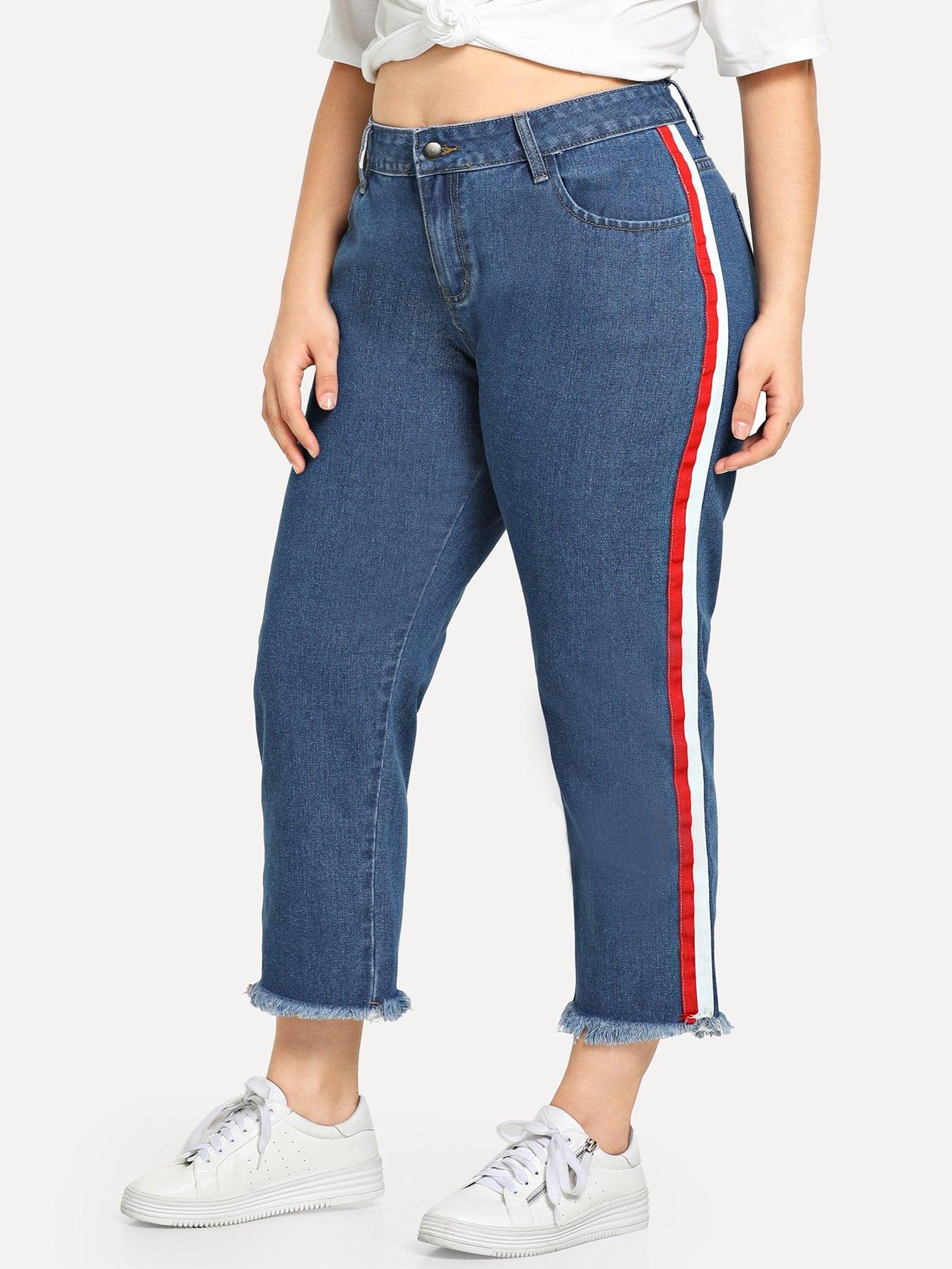 Купить Плюс Stripe Side Raw Hem Jeans, Carol, SheIn