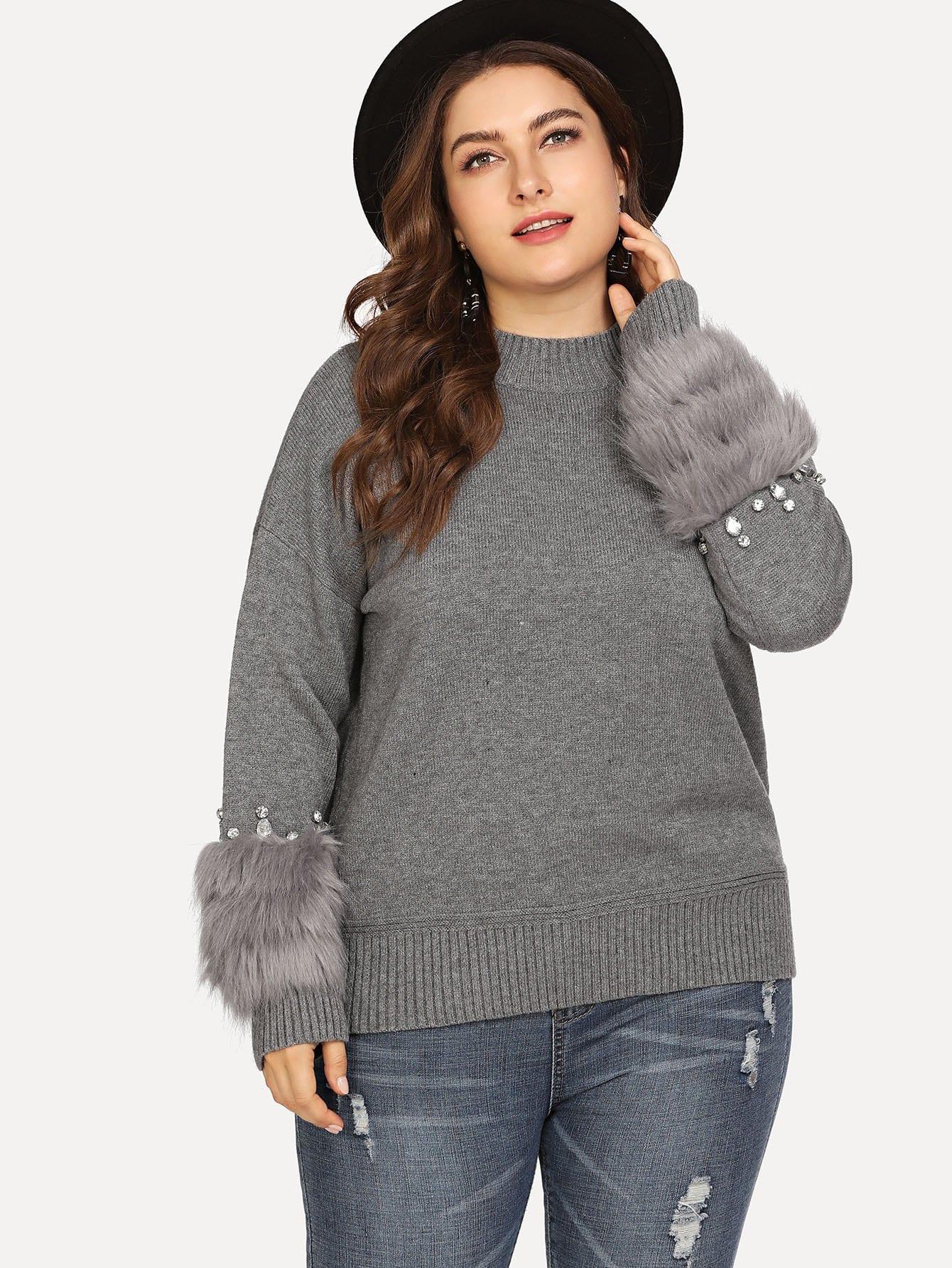 Купить Плюс Faux Fur & Rhinestone Embellished Sweater, Franziska, SheIn