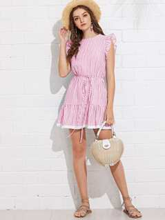 Ruffle Armhole Tie Waist Fringe Hem Striped Dress