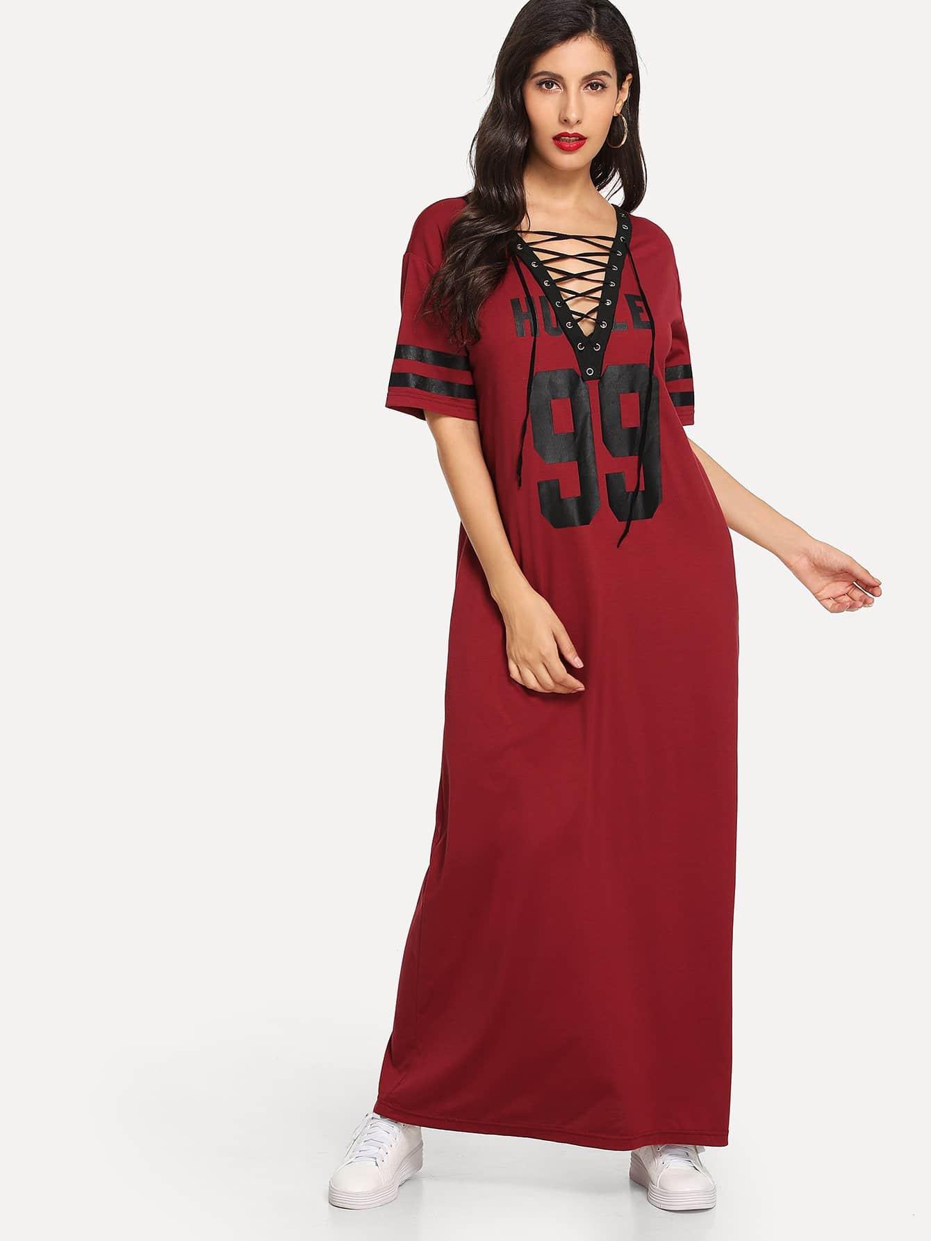 Купить Металлические люверсы шнуровкое платье V шеи, Jeane, SheIn