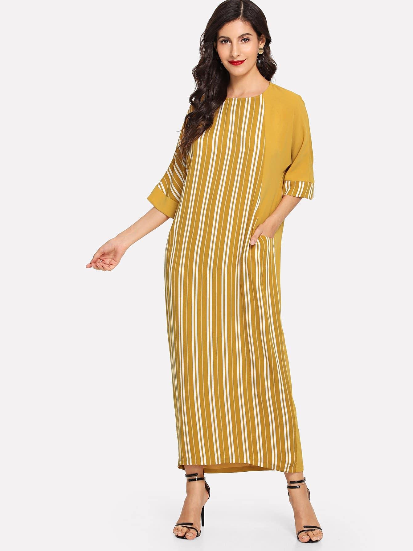 Купить Полосатое платье с карманами, Jeane, SheIn