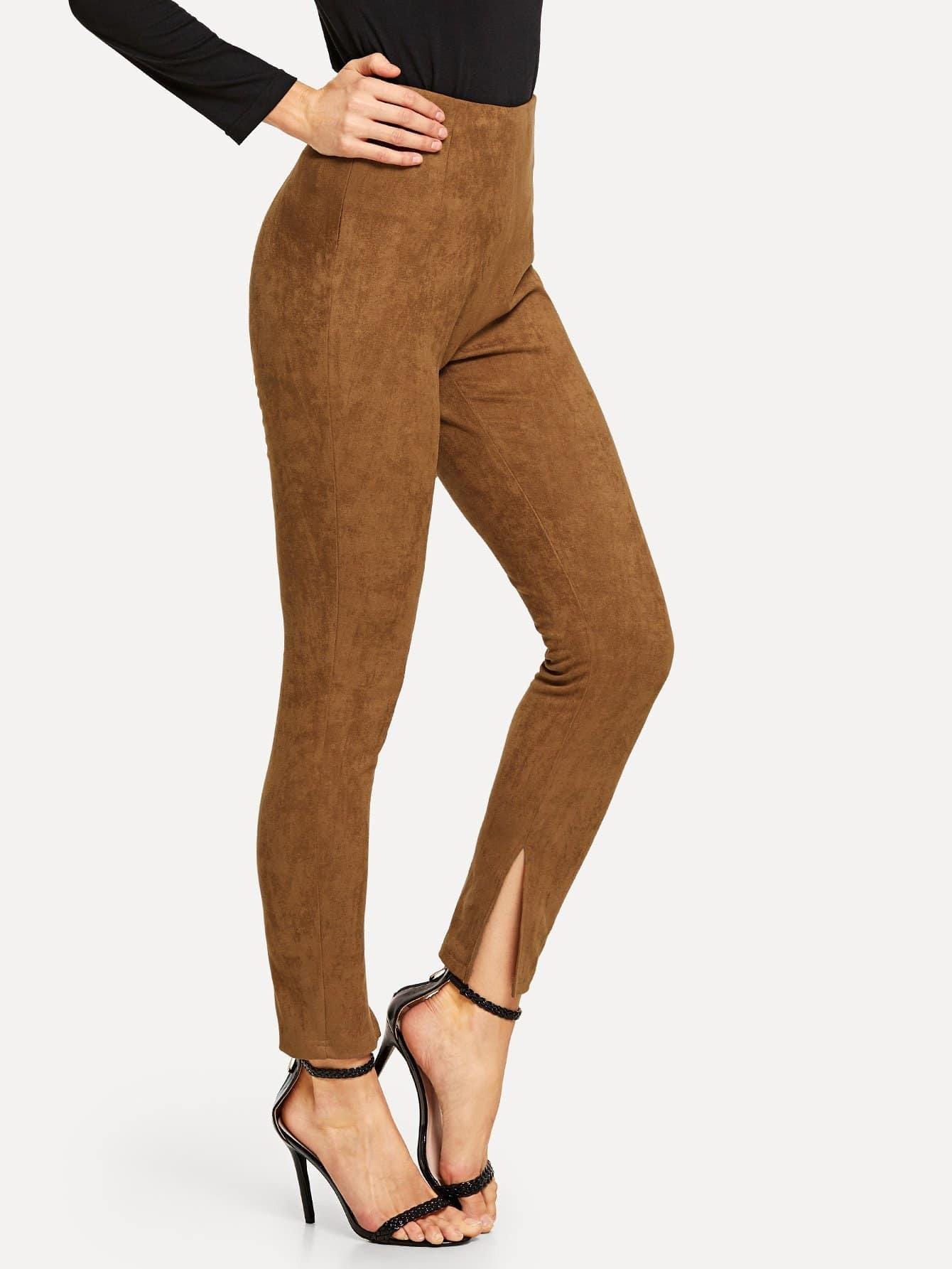 Купить Высокая талия женские замшевые брюки, Masha, SheIn