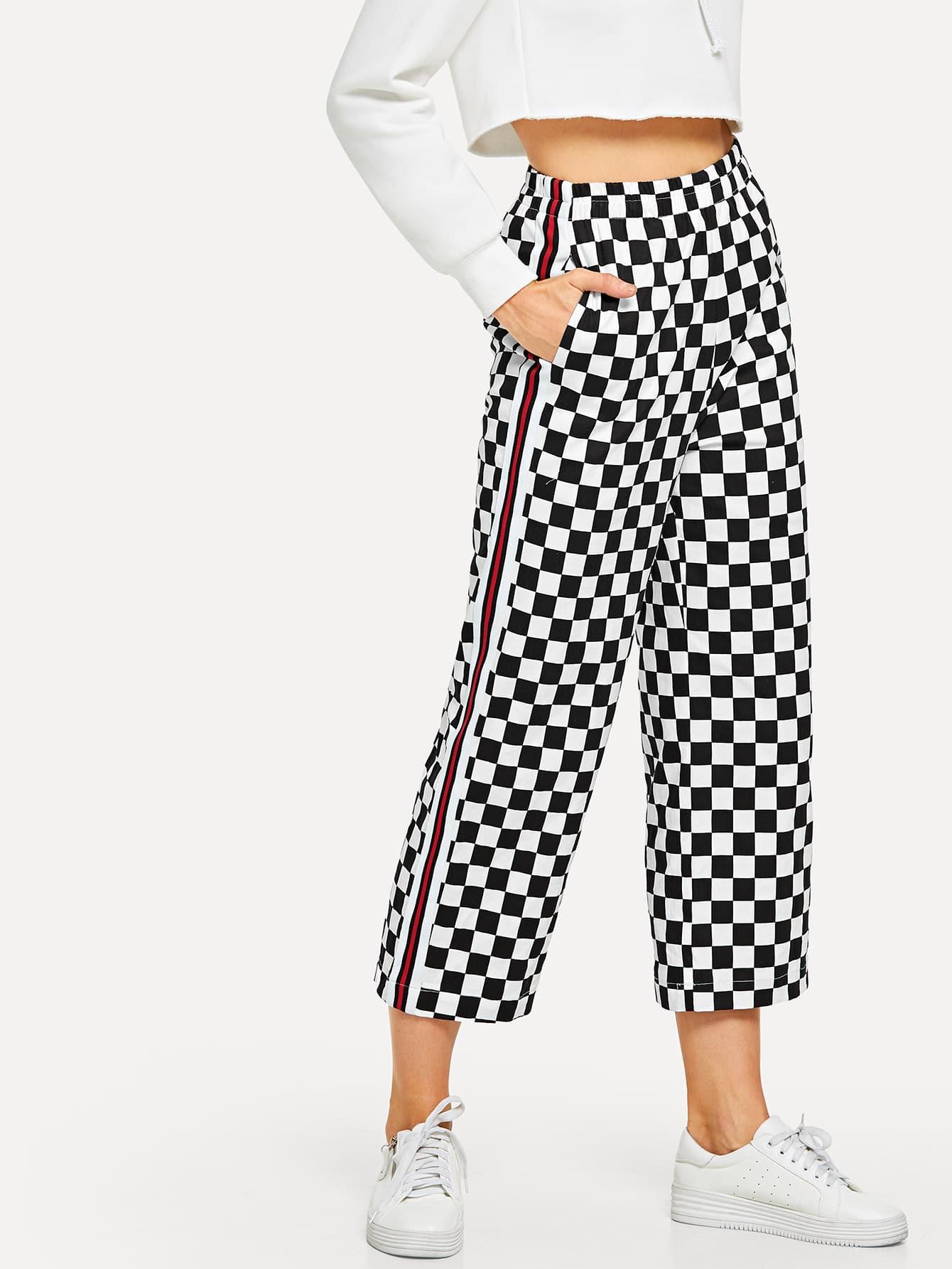 Купить Клетчатые брюки полосатый лоскутная штаны, Masha, SheIn