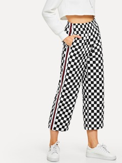Striped Side Checkered Crop Pants