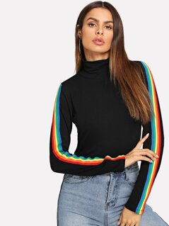 High Neck Rainbow Striped Sleeve T-shirt