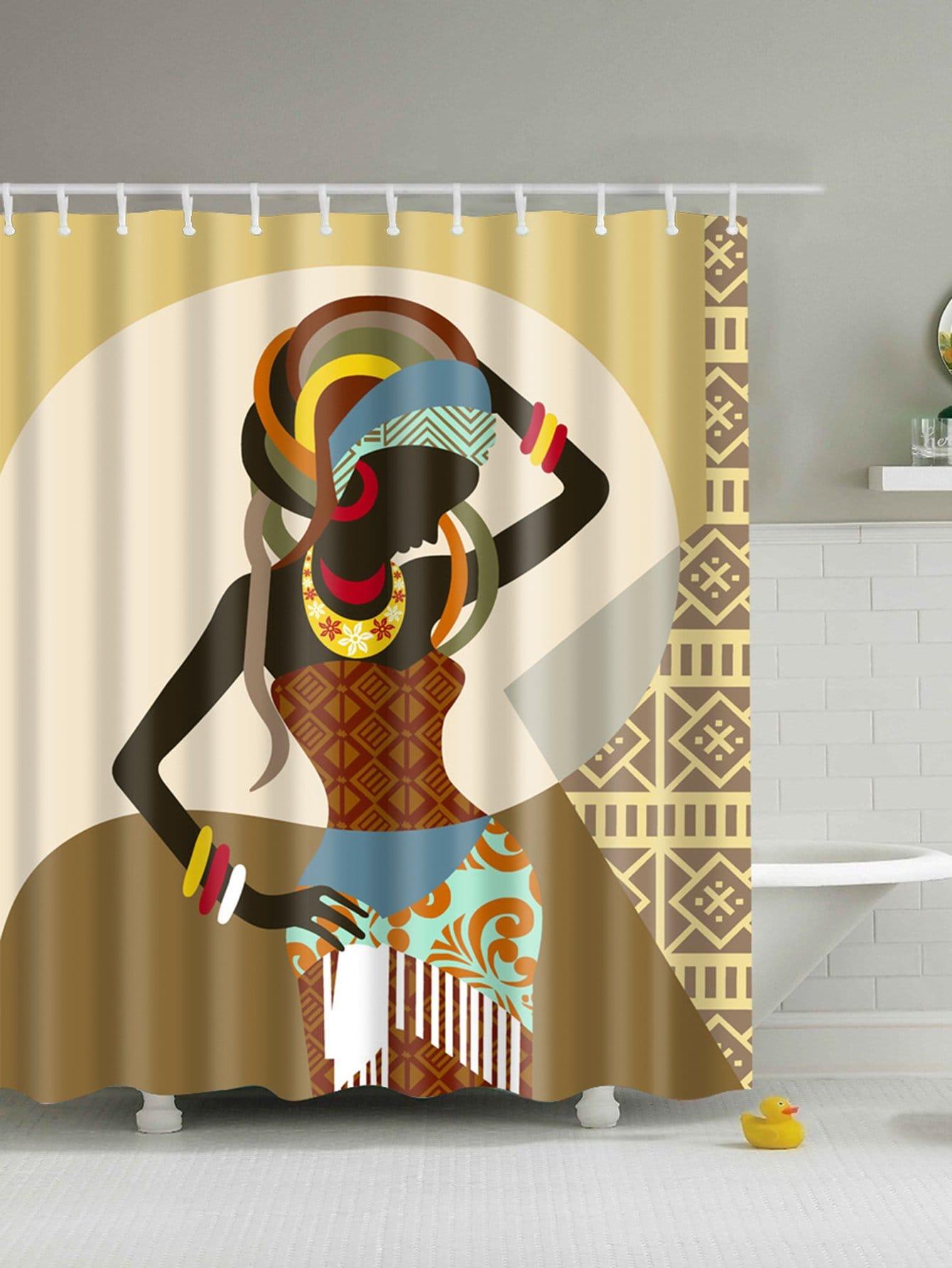 Duschvorhang mit Mädchenmuster 12pcs Haken
