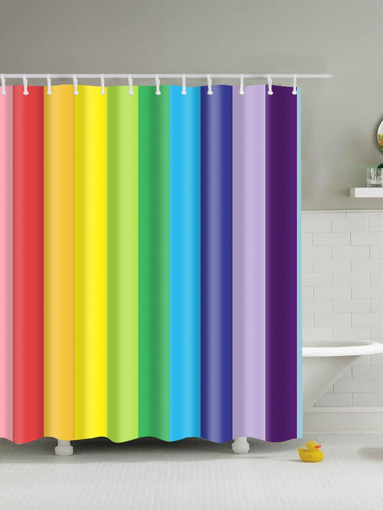 Купить Занавес для душа Rainbow Stripe с крючком 12 шт., null, SheIn