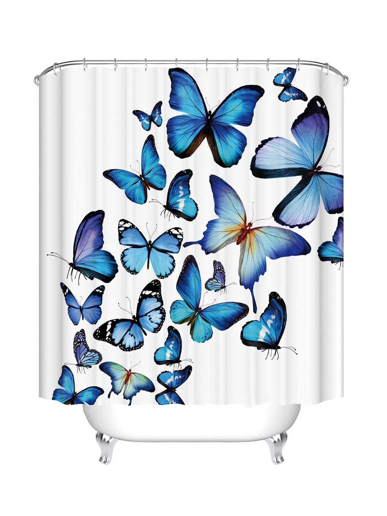 Duschvorhang mit Schmetterlingmuster 12pcs Haken