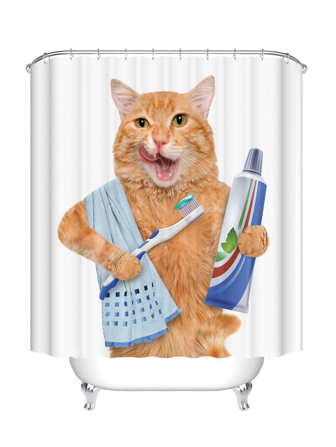 Duschvorhang mit Katzemuster 12pcs Haken