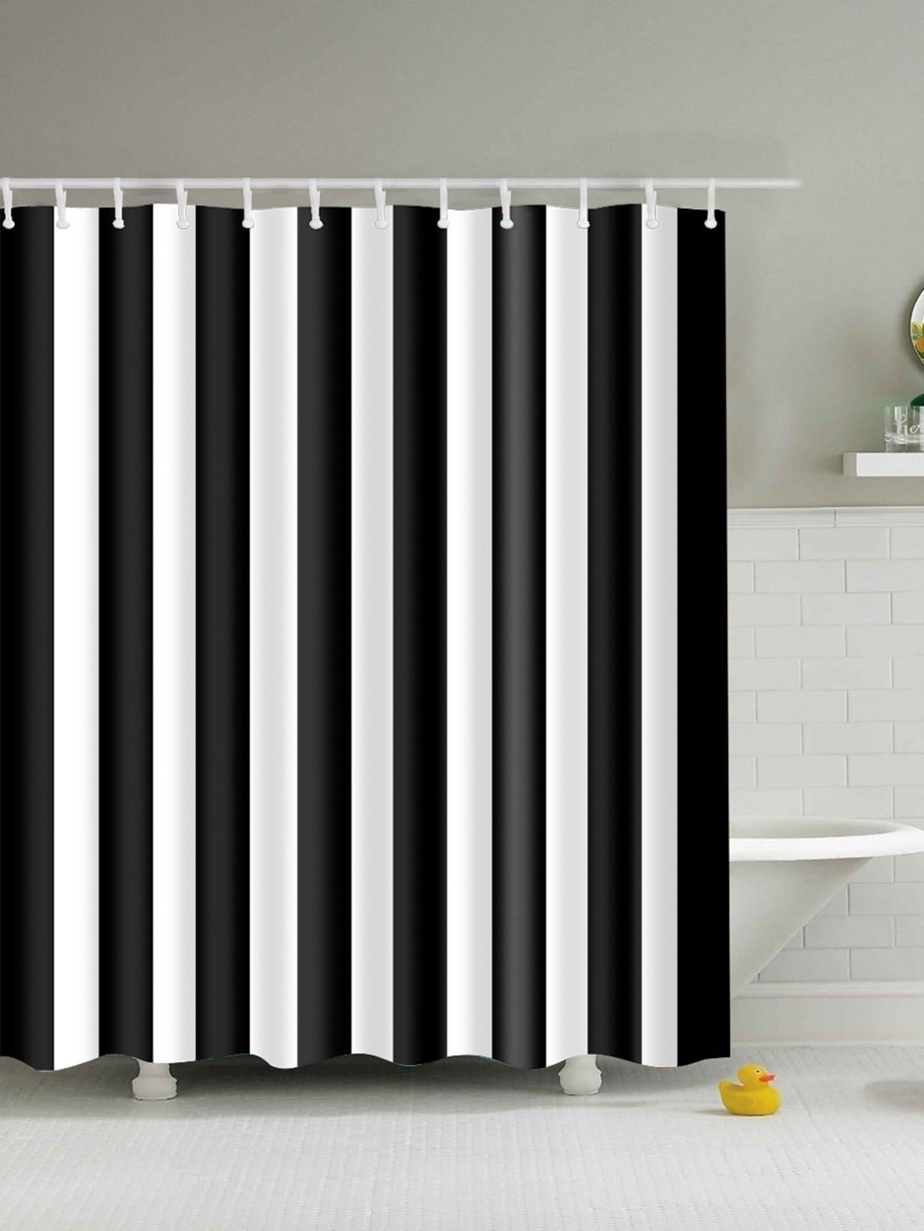 Duschvorhang mit Streifen 12pcs Haken
