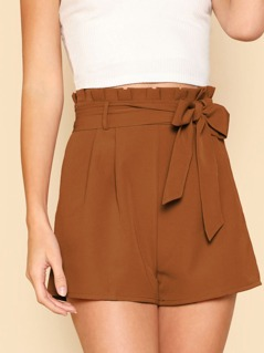 Tie Front Pleated Waist Shorts