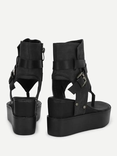 Romwe / Toe Post Platform Wedge Sandals
