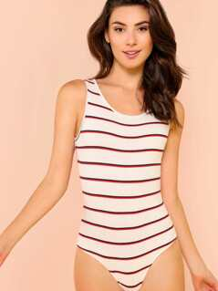 Ribbed Knit Stripe Bodysuit