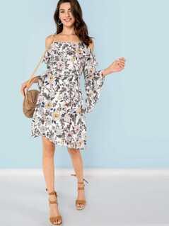 Floral Print Cold Shoulder Bell Sleeve Dress