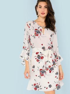 Flounce Sleeve Belted Floral Dress