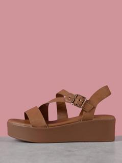 Faux Leather Flatform Sandals