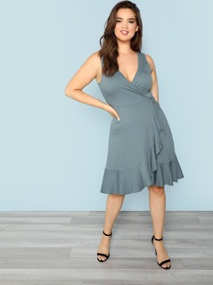 Ribbed Knit Surplice Wrap Dress