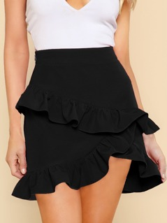Asymmetric Layered Ruffle Skirt