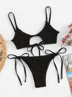 Shirred Top With Self Tie Side Bikini Set