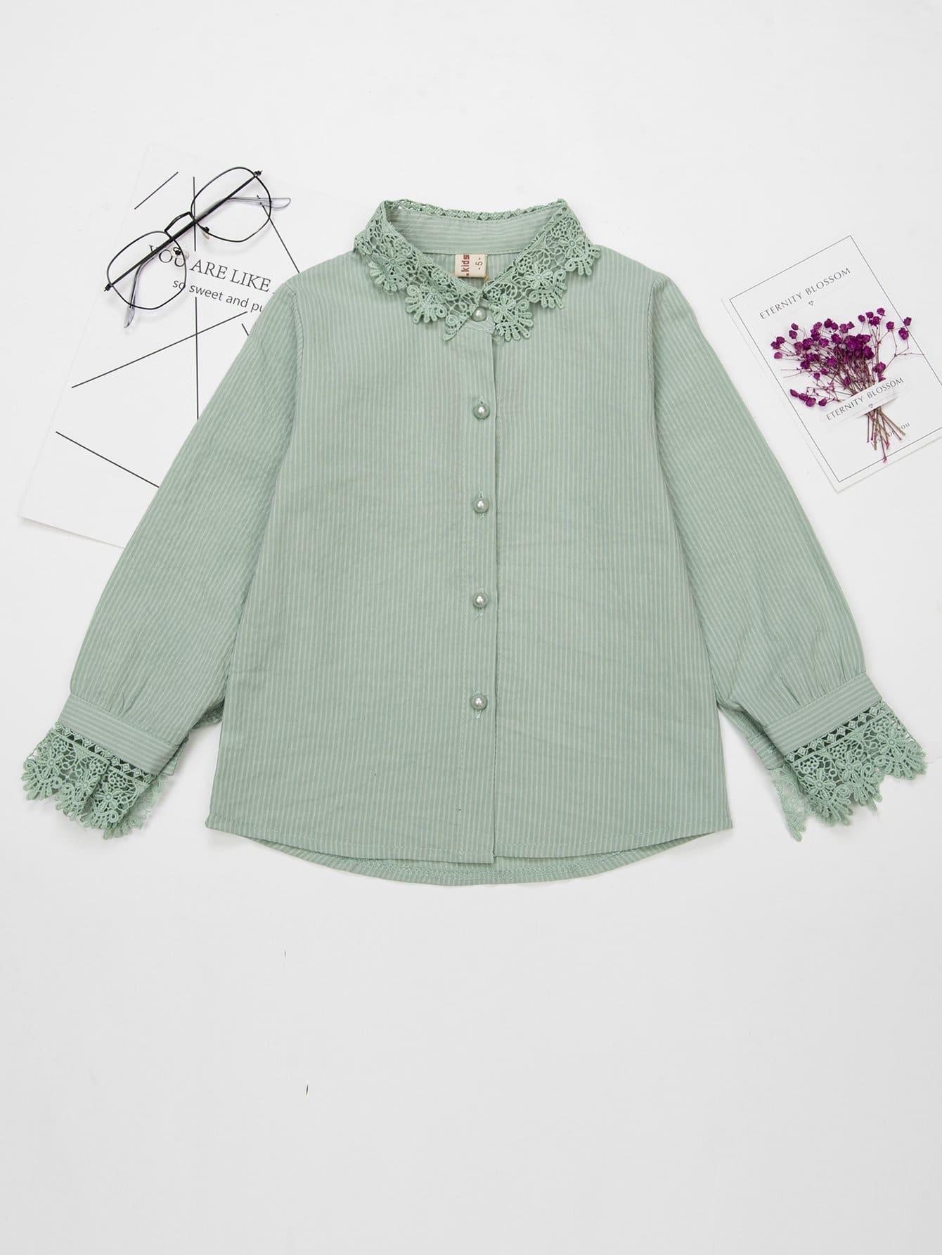 Купить Тонкая-полосатая футболка и с трикотажными оторочками для девочки, null, SheIn