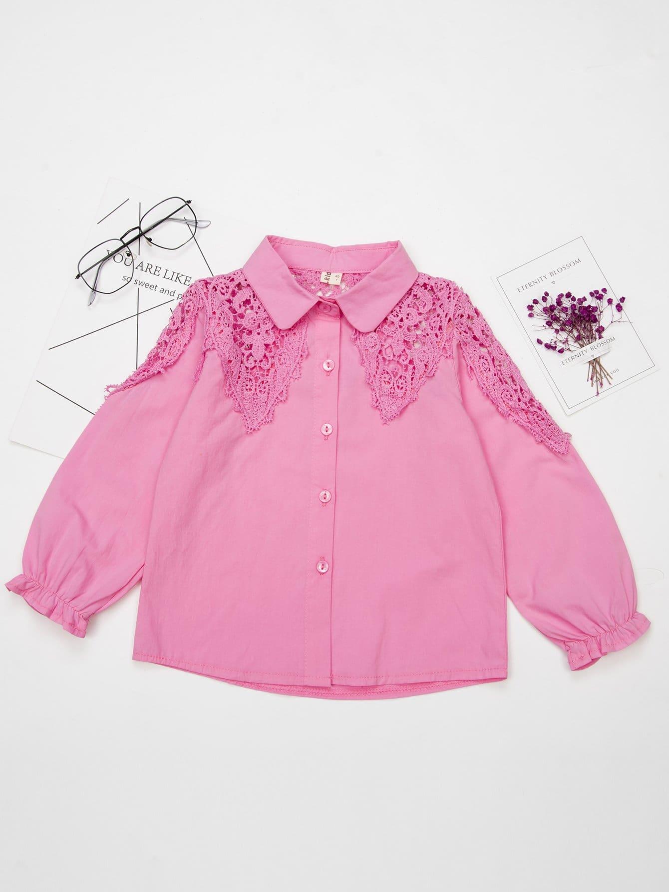 Girls Hollow Out Crochet Panel Shirt