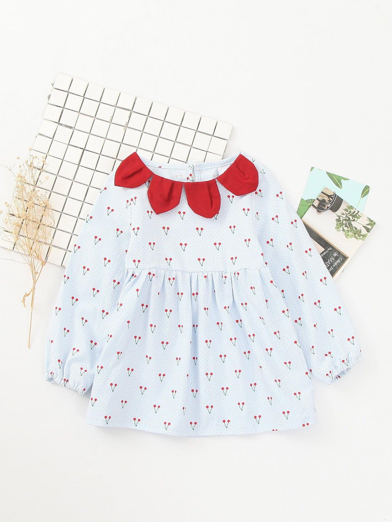 Купить Babydoll Платье и с рисунками вишен для девочки, null, SheIn