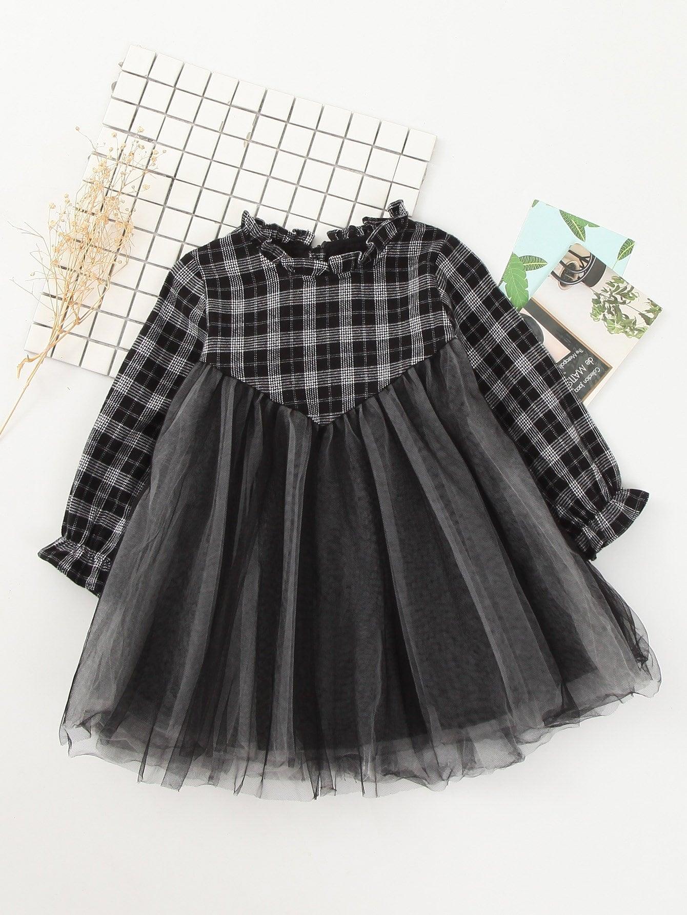 Girls Contrast Mesh Frill Trim Dress цена