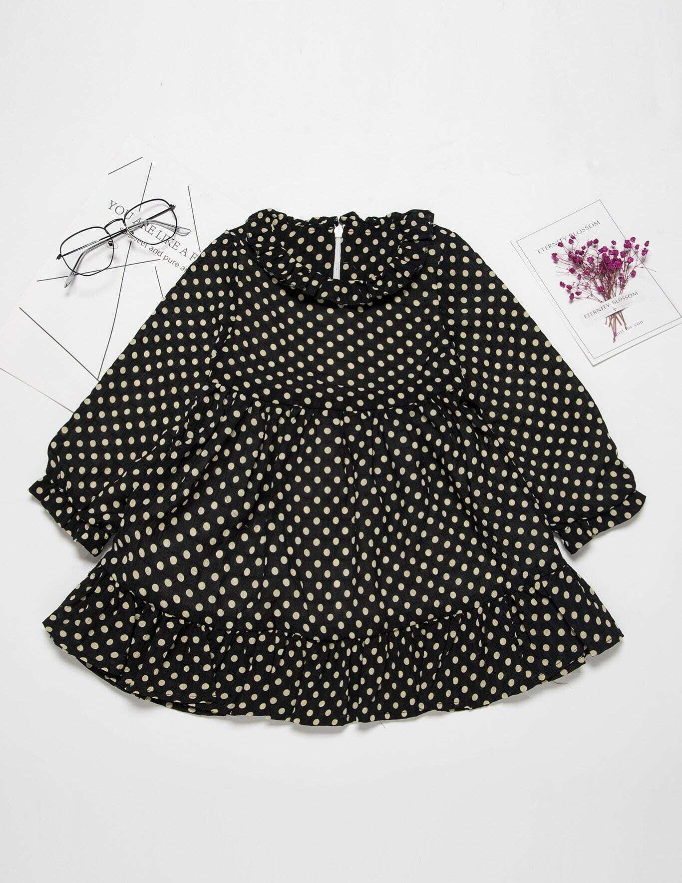 Купить Babydoll Платье с кружевными оборками для девочки, null, SheIn