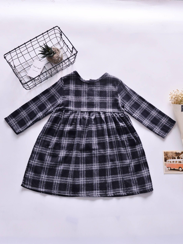 Girls Tartan Plaid Babydoll Dress