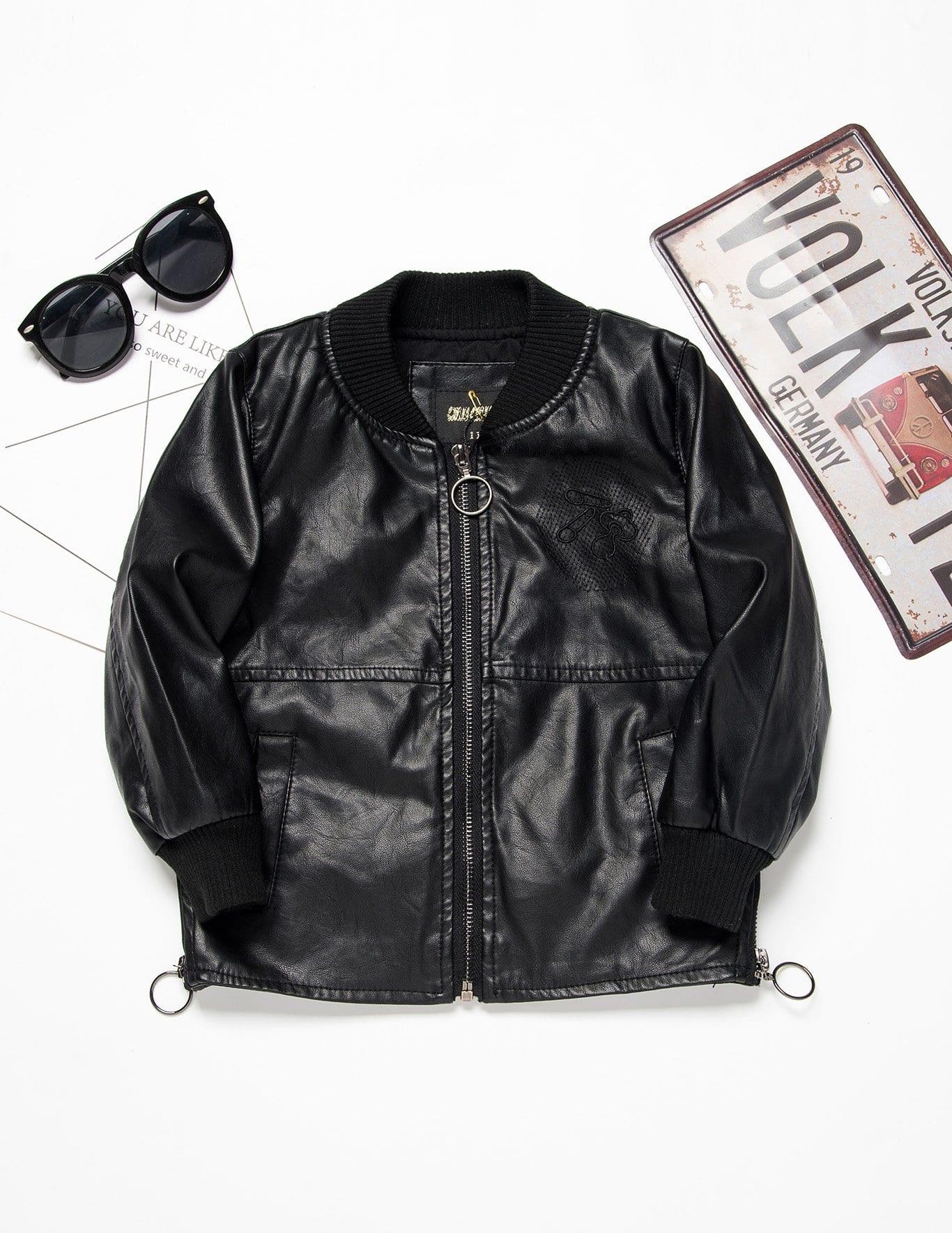 Девушки вышитые боковая молния PU куртка