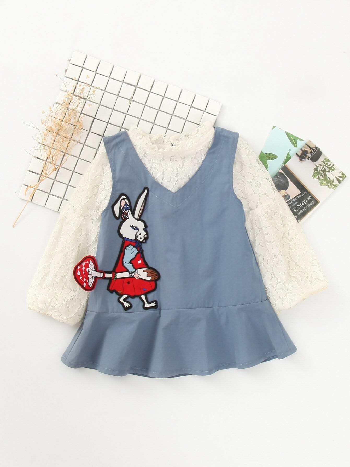 Купить Кружевный топ и платье с украшением заплаты кролика для девочки, null, SheIn